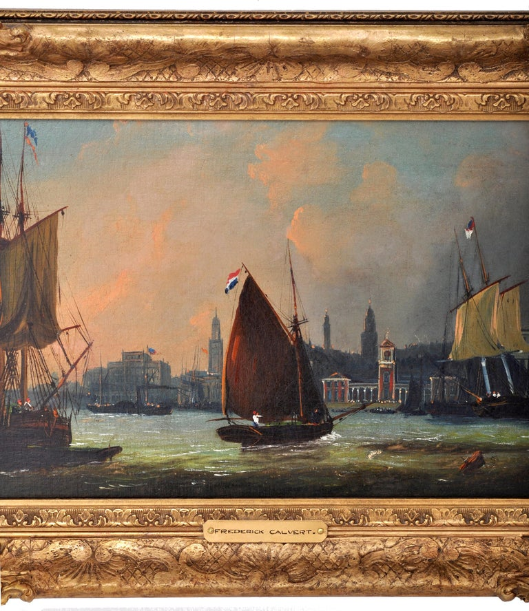 Antique Maritime Oil Painting, Frederick Calvert, circa 1830 In Good Condition For Sale In Portland, OR