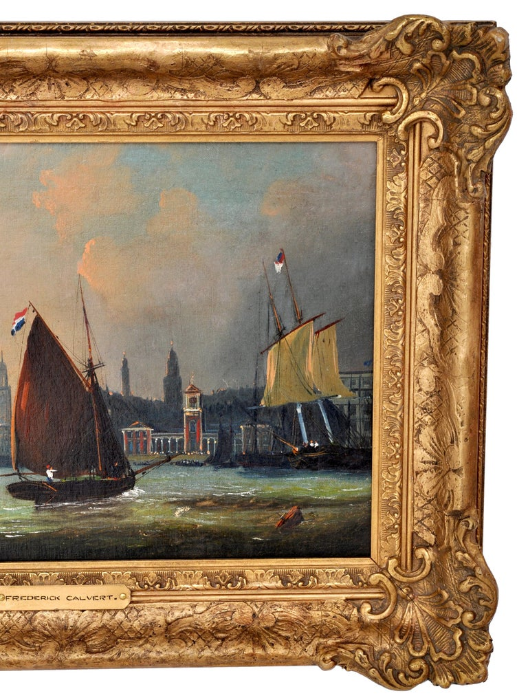19th Century Antique Maritime Oil Painting, Frederick Calvert, circa 1830 For Sale