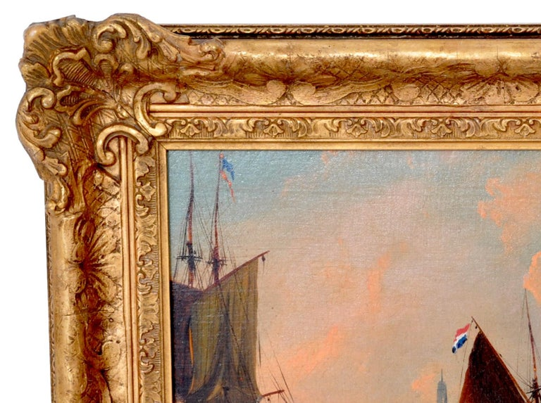 Antique Maritime Oil Painting, Frederick Calvert, circa 1830 For Sale 1