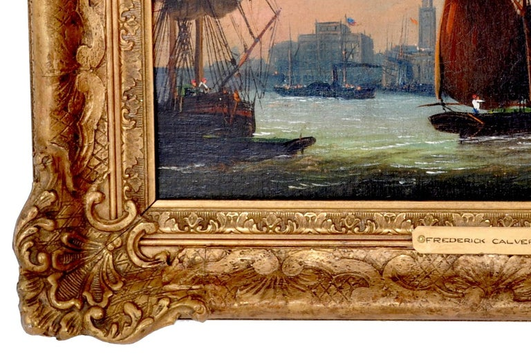 Antique Maritime Oil Painting, Frederick Calvert, circa 1830 For Sale 3