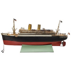 Antique Marklin Ocean Liner with American Flags and Lifeboats, circa 1900