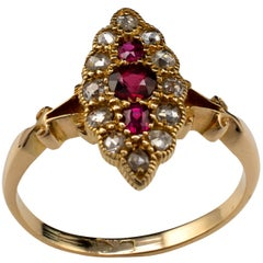 Antique Marquise Ring Ruby and Diamond Ring, 18 Karat Gold Chester Hallmarks