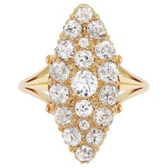 Antique Marquise Shape Old Cut Diamond 18 Carat Gold Cluster Ring, 1893