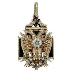 Antique Masonic 14 Karat Gold, Diamond, & Enamel Pendant