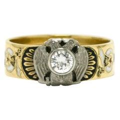 Masonic Ring Diamond Men's Engraved Band Enamel Memento Mori Double Eagle