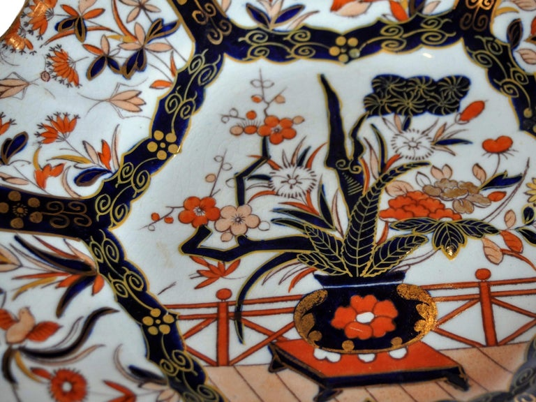 English Antique Mason's Ironstone Imari Pattern Finest Gilding and Sculpted Plate For Sale