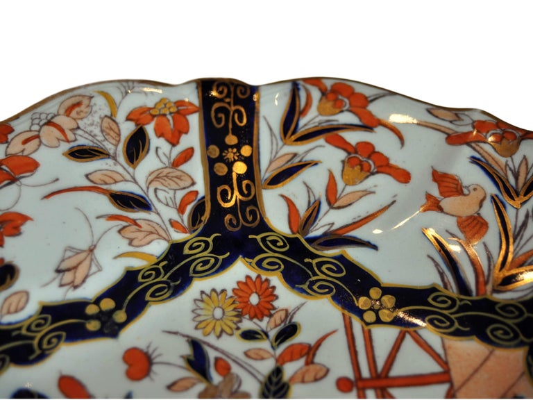 Molded Antique Mason's Ironstone Imari Pattern Finest Gilding and Sculpted Plate For Sale