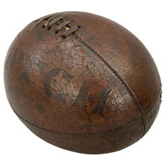 Antique, Match, Leather Rugby Ball, Early Shape Four Panels