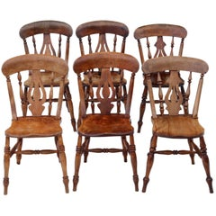 Antique Matched Set of 6 Victorian circa 1890 Ash and Elm Kitchen Dining Chairs