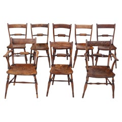 Antique Matched Set of 8 '6+2' Elm Beech Kitchen Dining Chairs Oxford Knife-back