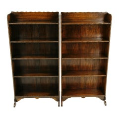 Antique Matching Oak Bookcases, 5 Tier Open Bookcase, Graduating Shelves, B2388