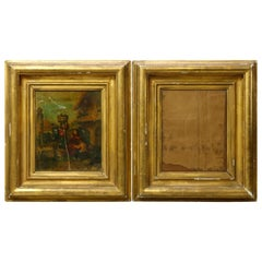 Antique Matching Pair of Early Giltwood Art Frames, 19th Century