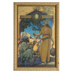Antique Maxfield Parrish Edison Mazda Print Lamp Seller of Baghdad, Circa 1920