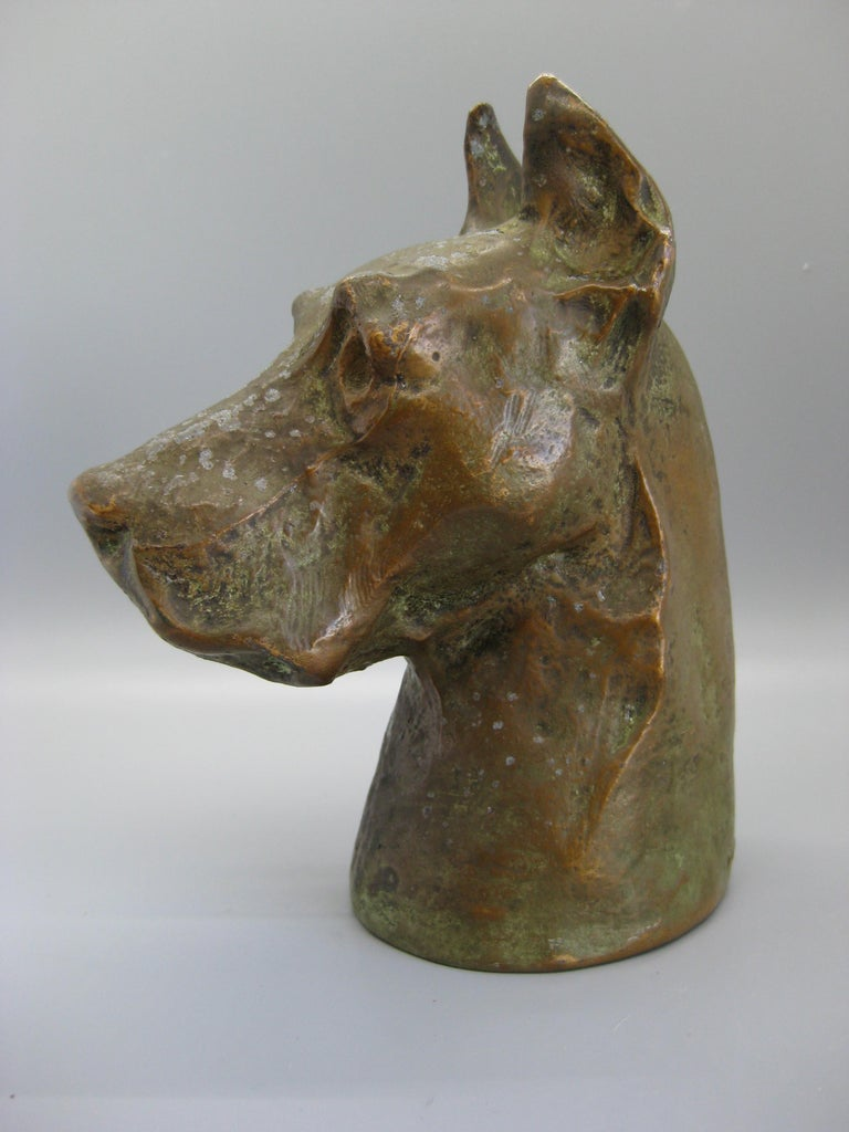 American Antique McClelland Barclay Doberman Pinscher Dog Figural Bronze Figure Sculpture For Sale