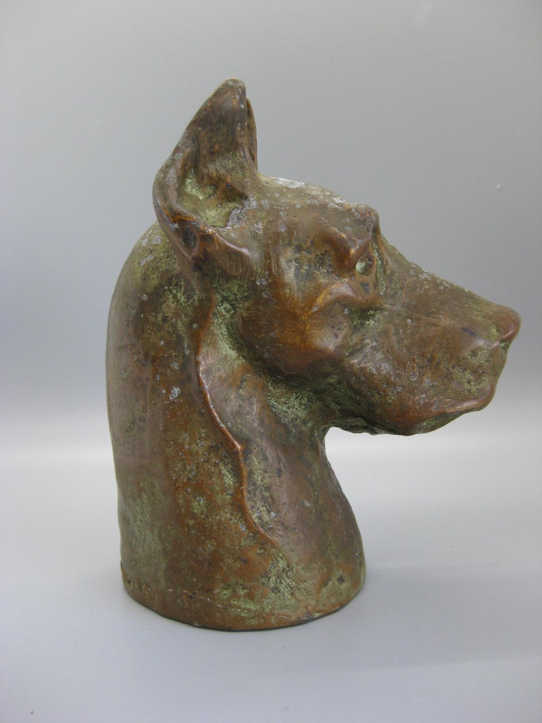 Metal Antique McClelland Barclay Doberman Pinscher Dog Figural Bronze Figure Sculpture For Sale