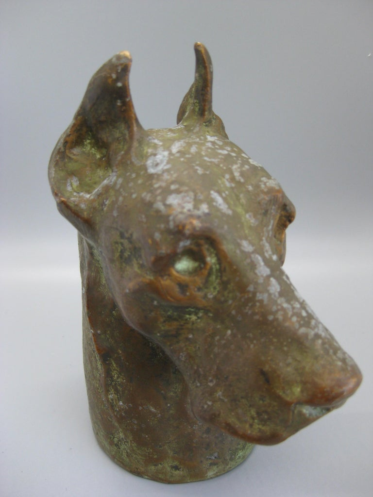 Antique McClelland Barclay Doberman Pinscher Dog Figural Bronze Figure Sculpture For Sale 2