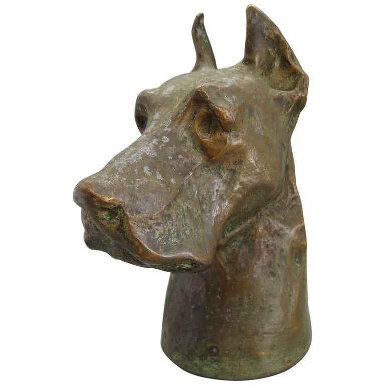 Antique McClelland Barclay Doberman Pinscher Dog Figural Bronze Figure Sculpture For Sale