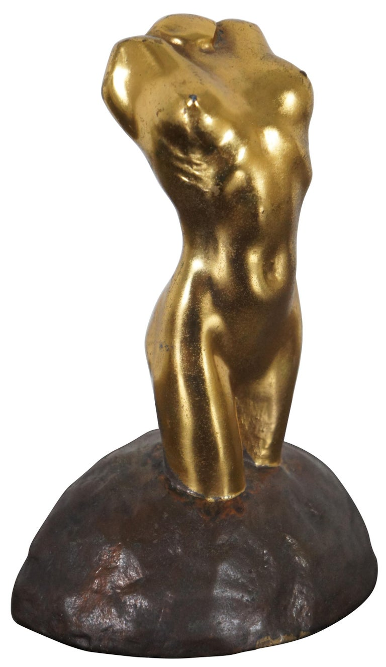 Antique McClelland Barclay Gilded Bronze Neoclassical Nude Figural Bust Statue In Good Condition For Sale In Dayton, OH