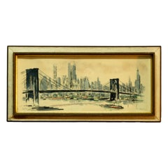 Antique MCM Watercolor Painting Of Brooklyn Bridge Skyline, Signed, 20th C
