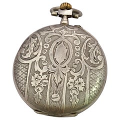 Antique Mechanical Silver Pocket Watch Signed 'HP'