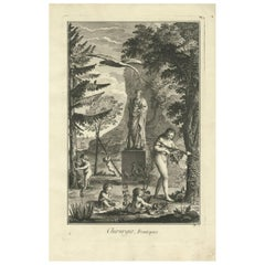 Antique Medical Print 'Frontispiece' by D. Diderot, circa 1760
