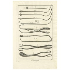 Antique Medical Print 'Pl. X' by D. Diderot, circa 1760