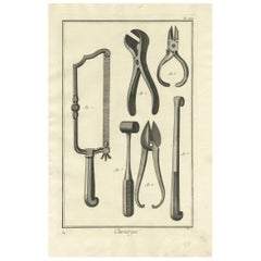 Antique Medical Print 'Pl. XXI' by D. Diderot, circa 1760
