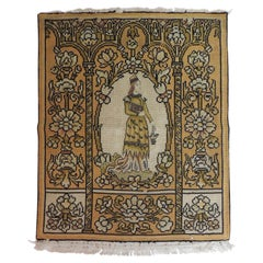 Antique Medieval Theme Yellow and Gold Tapestry