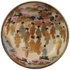 Antique Meiji 19th Century Japanese Satsuma Bowl Ladscape Birds Marked Base
