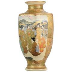 Antique Meiji 19th Century Japanese Satsuma Vase Warriors Figures Marked Base