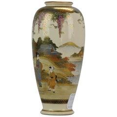 Antique Meiji 19th Century Japanese Satsuma Vase Ladies Figures Marked Base