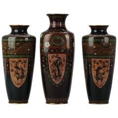 Antique Meiji Japanese Bronze Cloisonne Vase Cranes Glaze Vase Japan