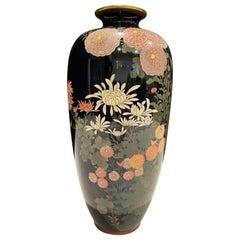 Antique Meiji Japanese Cloisonné Black Enamel Vase with Flowers