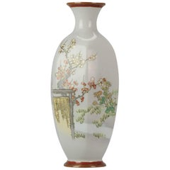 Antique Meiji Japanese Enamel on Metal Vase