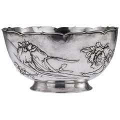 Antique Meiji Japanese Solid Silver Iris & Chrysanthemum Bowl, circa 1900