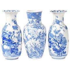 Antique Meiji Period 19th Century Japanese Hirado Vases Garniture Set Japan