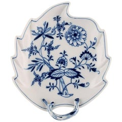 "Antique Meissen ""Blue Onion"" Leaf Shaped Dish in Hand Painted Porcelain"