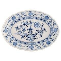 "Antique Meissen ""Blue Onion"" Serving Dish in Hand-Painted Porcelain"