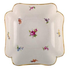 Antique Meissen Bowl in Hand-Painted Porcelain with Flowers and Gold Decoration