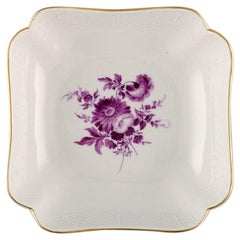 Antique Meissen Bowl in Hand Painted Porcelain with Purple Flowers
