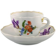 Antique Meissen Coffee Cup with Saucer in Hand Painted Porcelain, 19th Century