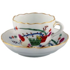 Antique Meissen Coffee Cup with Saucer in Hand Painted Porcelain, circa 1900
