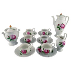 Antique Meissen Coffee Service in Hand Painted Porcelain for Six People