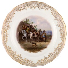 Antique Meissen Decoration Plate in Hand Painted Porcelain with Hunting Motif