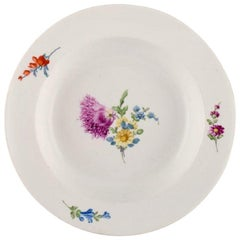 Antique Meissen Deep Plate in Hand Painted Porcelain with Floral Decoration