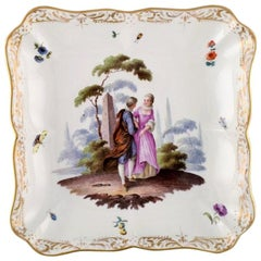 Antique Meissen Dish or Bowl in Hand Painted Porcelain, 19th Century