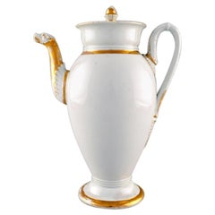 Antique Meissen Empire Coffee Pot with Gold Decoration, 19th Century