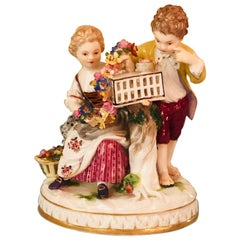 Antique Meissen Figural Group of Girl and Boy with Two Birds Out of Their Cage