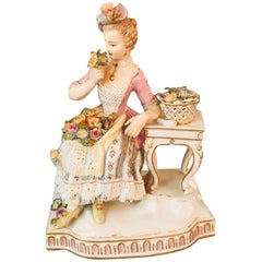 Antique Meissen Figural Group of Lady Depicting the Sense of Smell