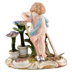 Antique Meissen Figure in Hand-Painted Porcelain, Boy Gardener, Late 19th c